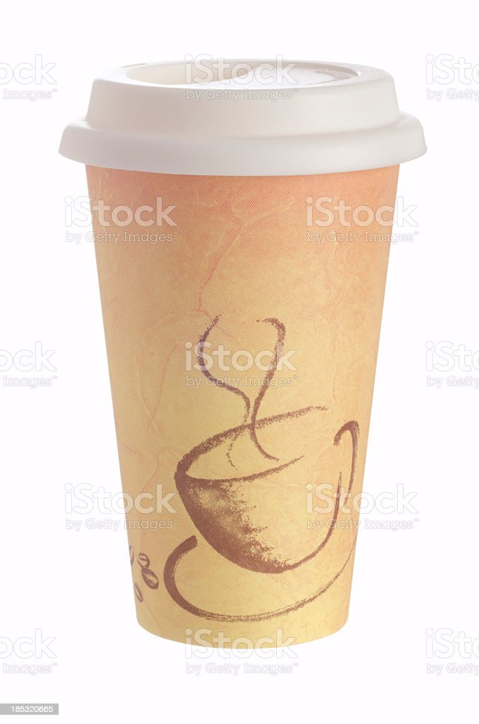 Disposable beige coffee cup on white background stock photo