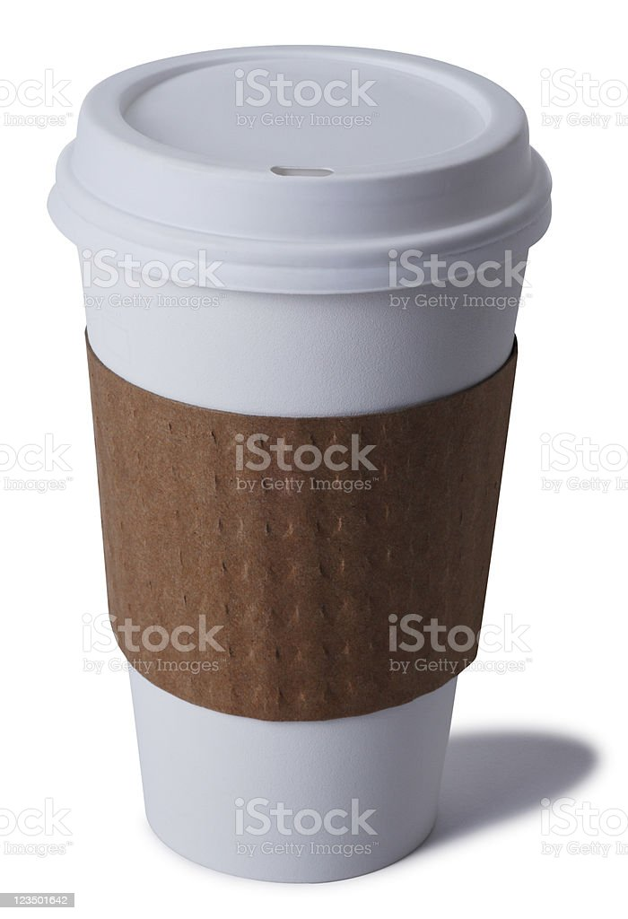 Disposable Coffee Cup on White royalty-free stock photo