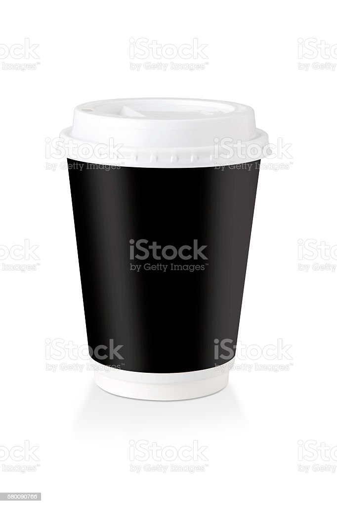 Disposable Coffee Cup Whit Black Label  - Clipping Path stock photo