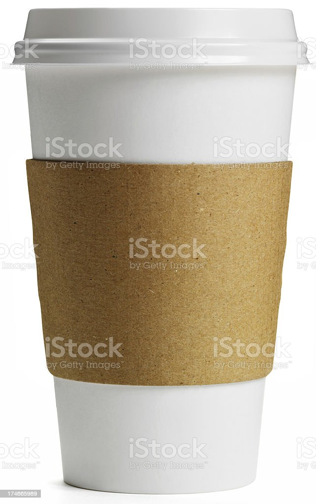 Disposable Coffee Cup with cardboard heat collar, Isolated royalty-free stock photo