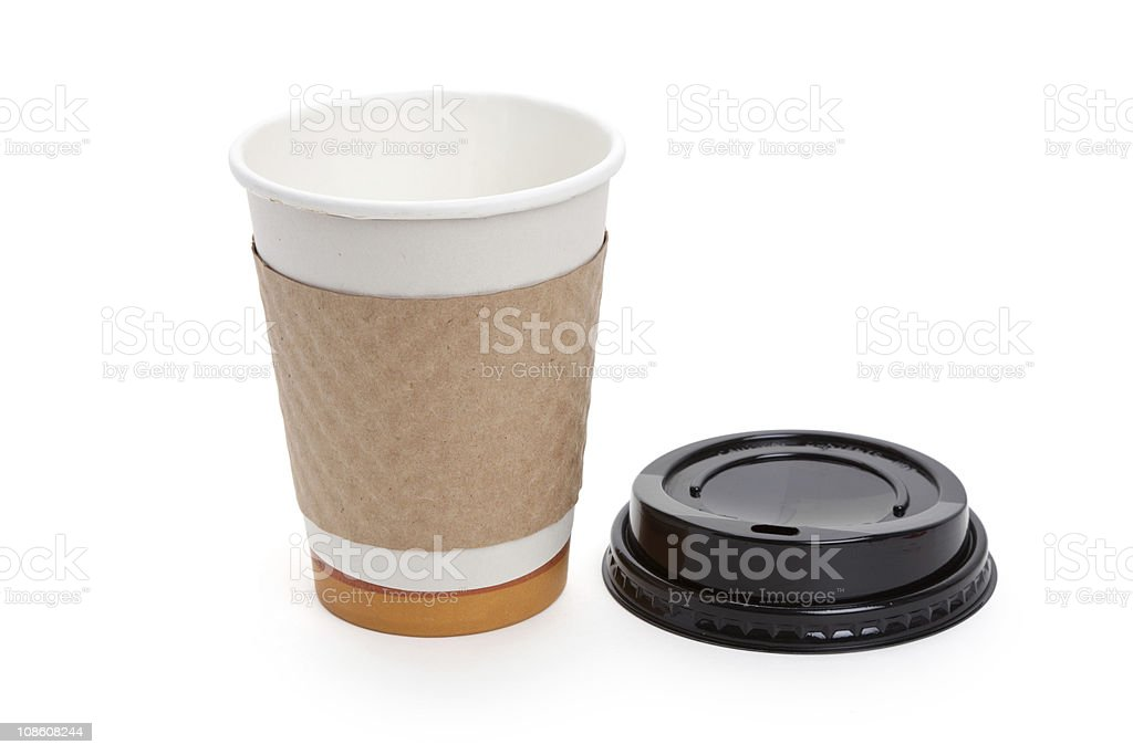 Disposable coffee cup with lid on a white background stock photo