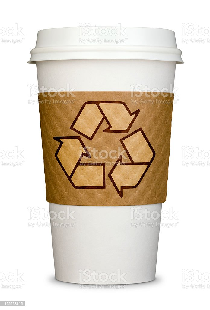 Disposable Coffee Cup With Recycle Logo on Cardboard Sleeve Isolated royalty-free stock photo