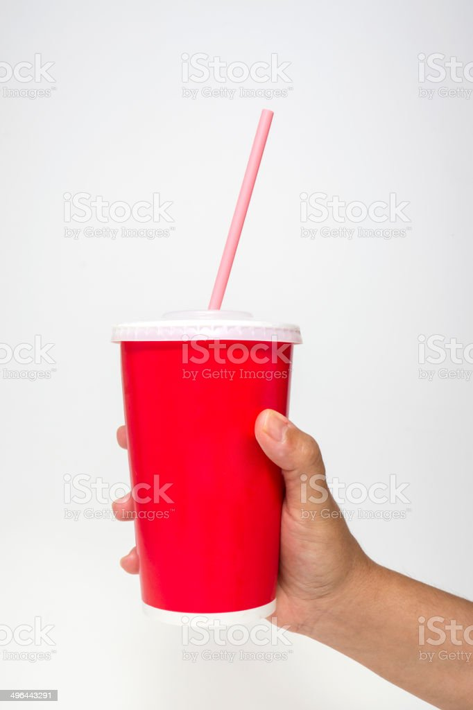 Disposable Cup in Her Hand stock photo