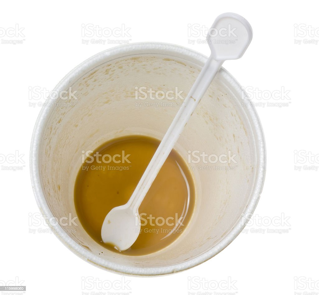 Disposable cup with some latte royalty-free stock photo