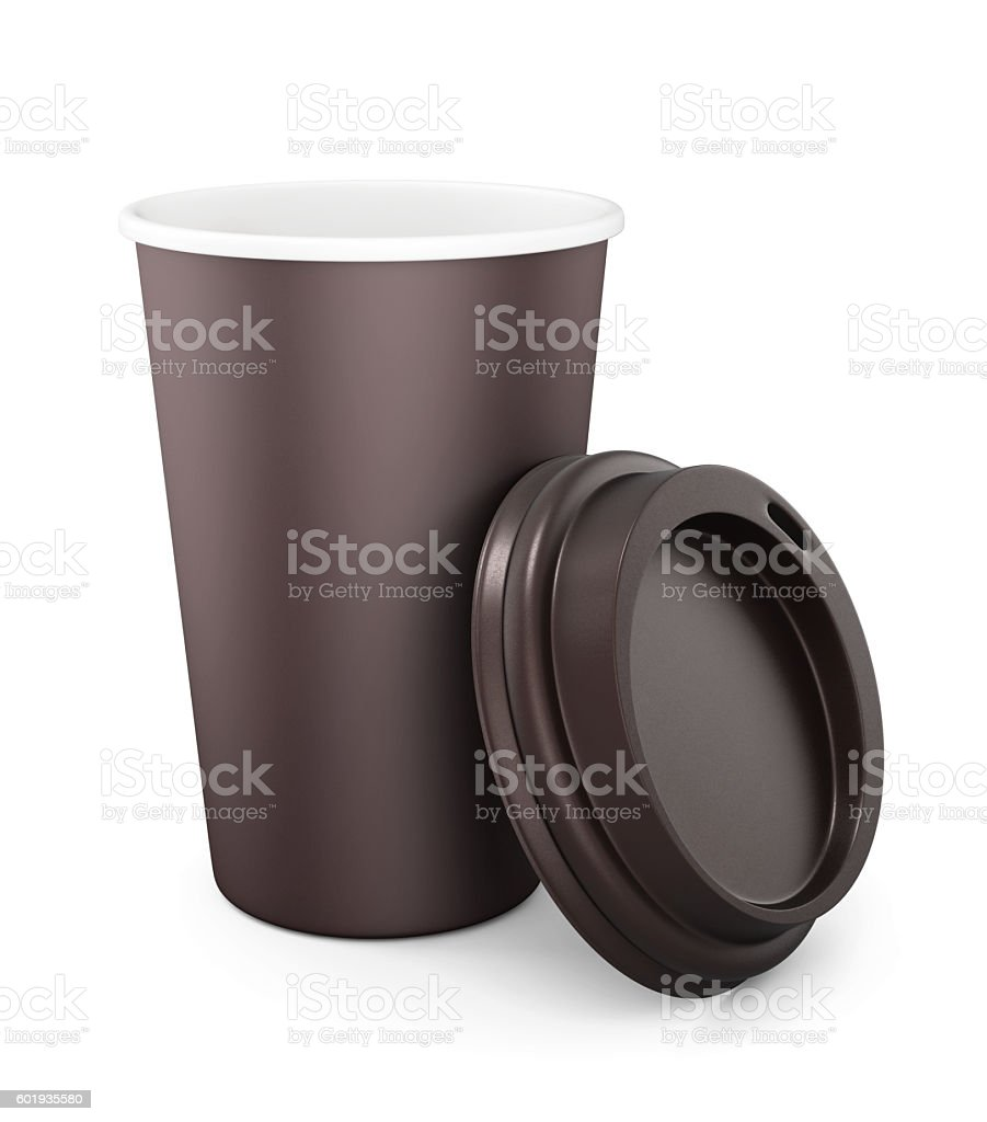 Disposable Cup with the lid open stock photo