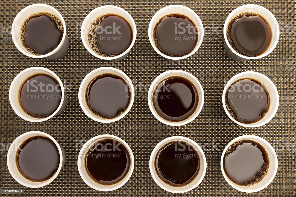 Disposable cups with coffee royalty-free stock photo
