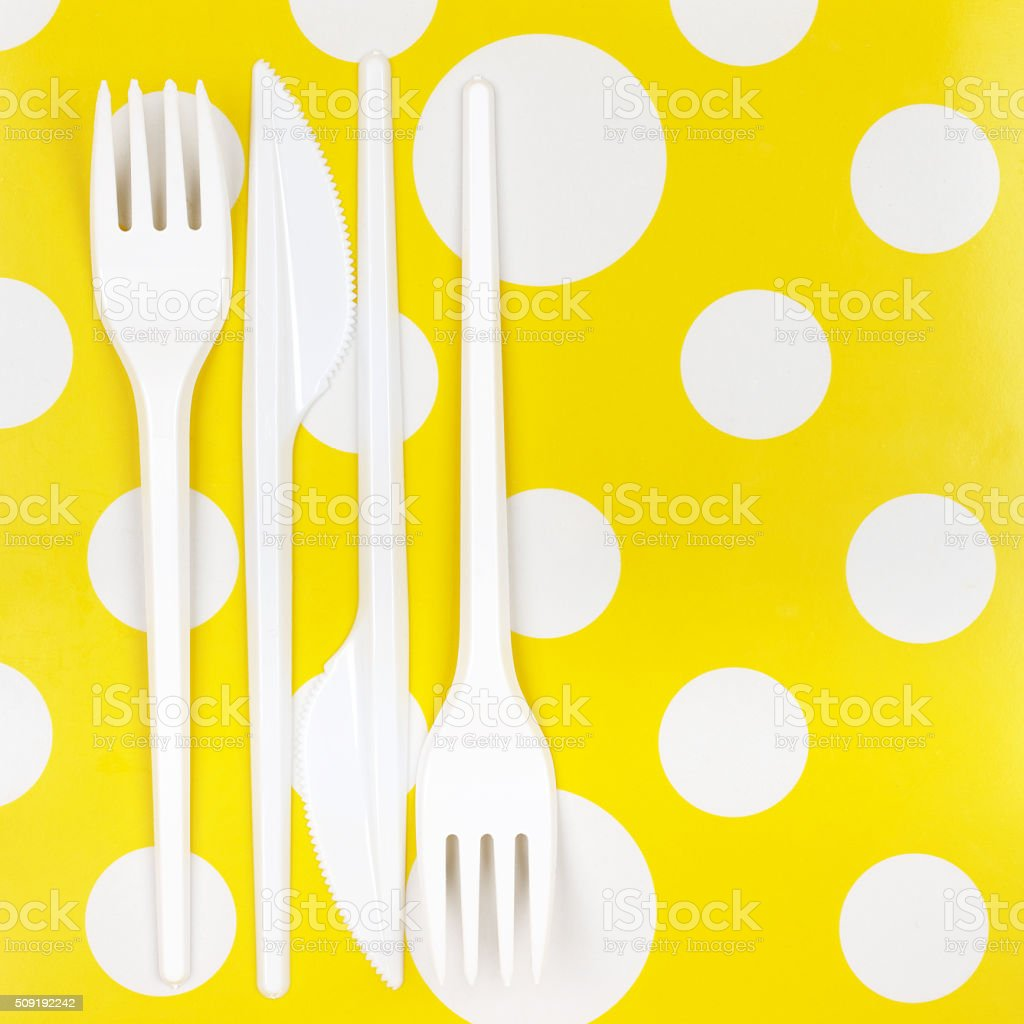 Disposable cutlery set stock photo