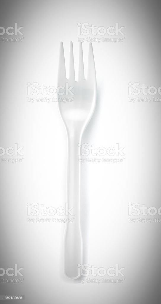 disposable fork isolated on a white background stock photo