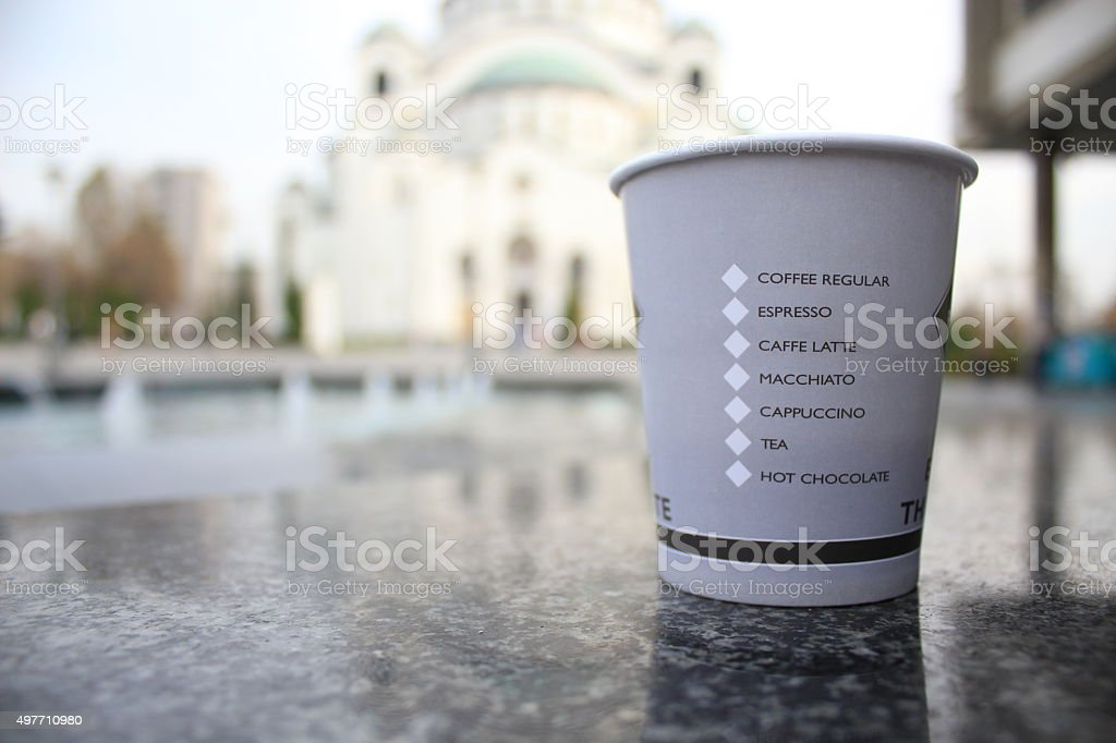 Disposable Paper Coffee Cup stock photo