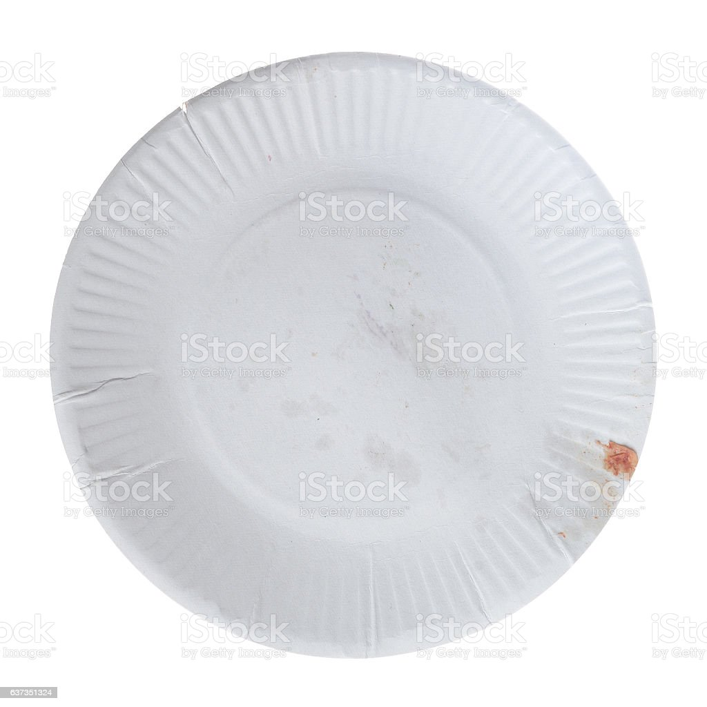 Disposable paper plate for food stock photo