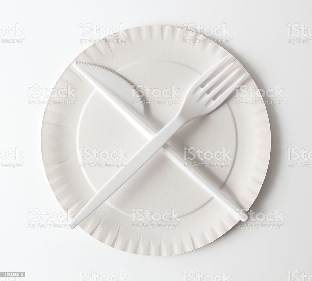 Disposable Paper Plate, Fork and Knife stock photo