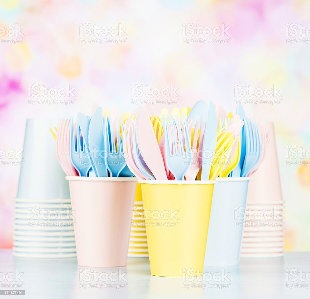 Disposable Plastic Cutlery and Paper Cups royalty-free stock photo