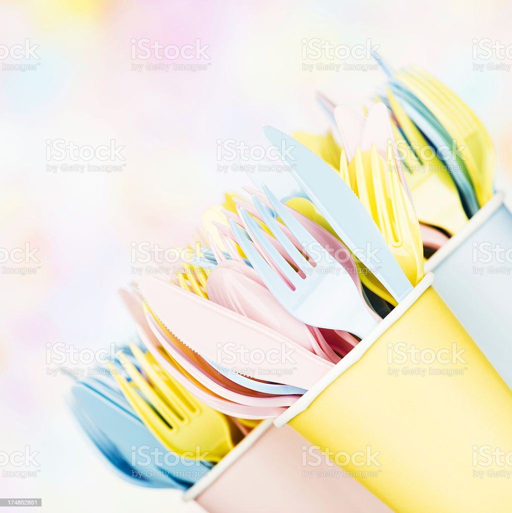 Disposable Plastic Cutlery royalty-free stock photo