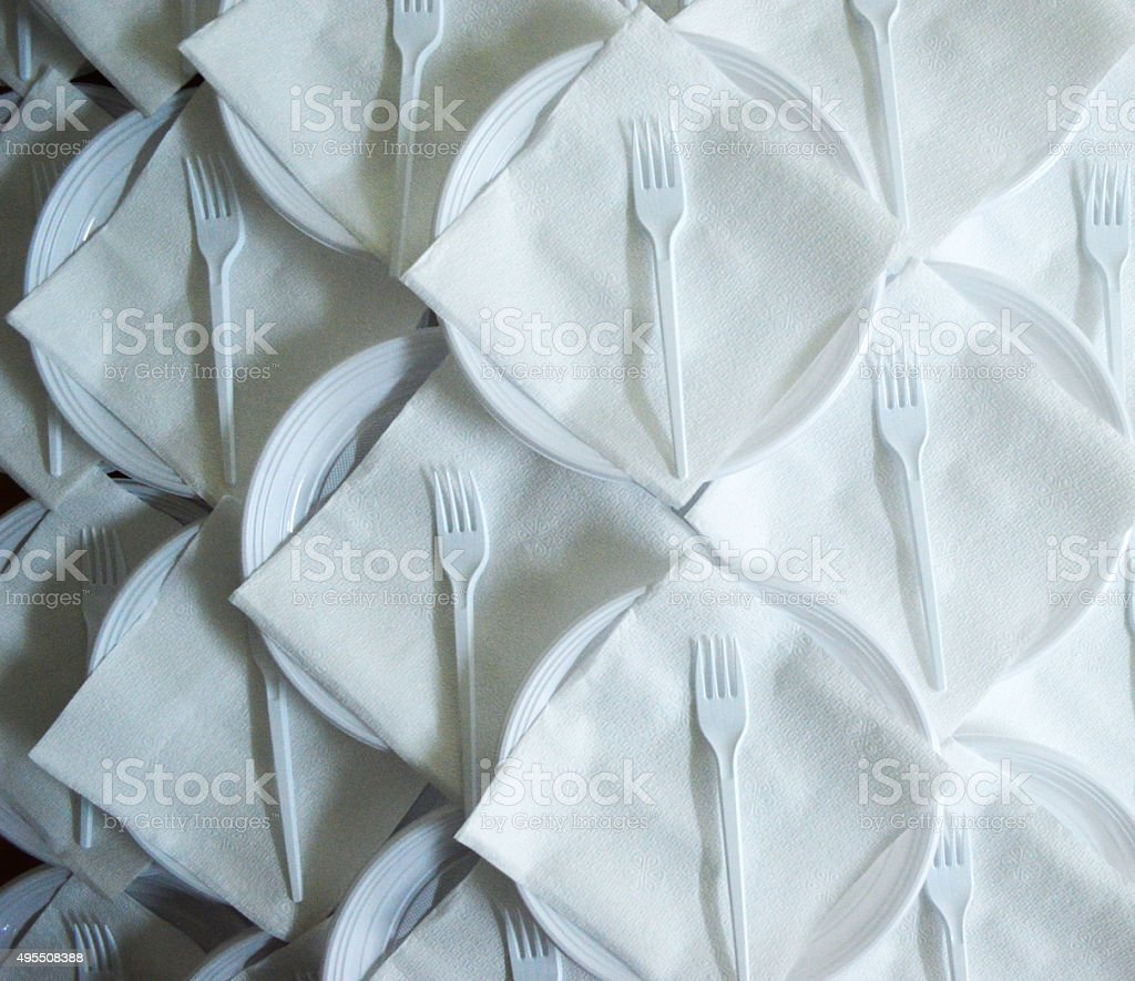 disposable plate and fork stock photo