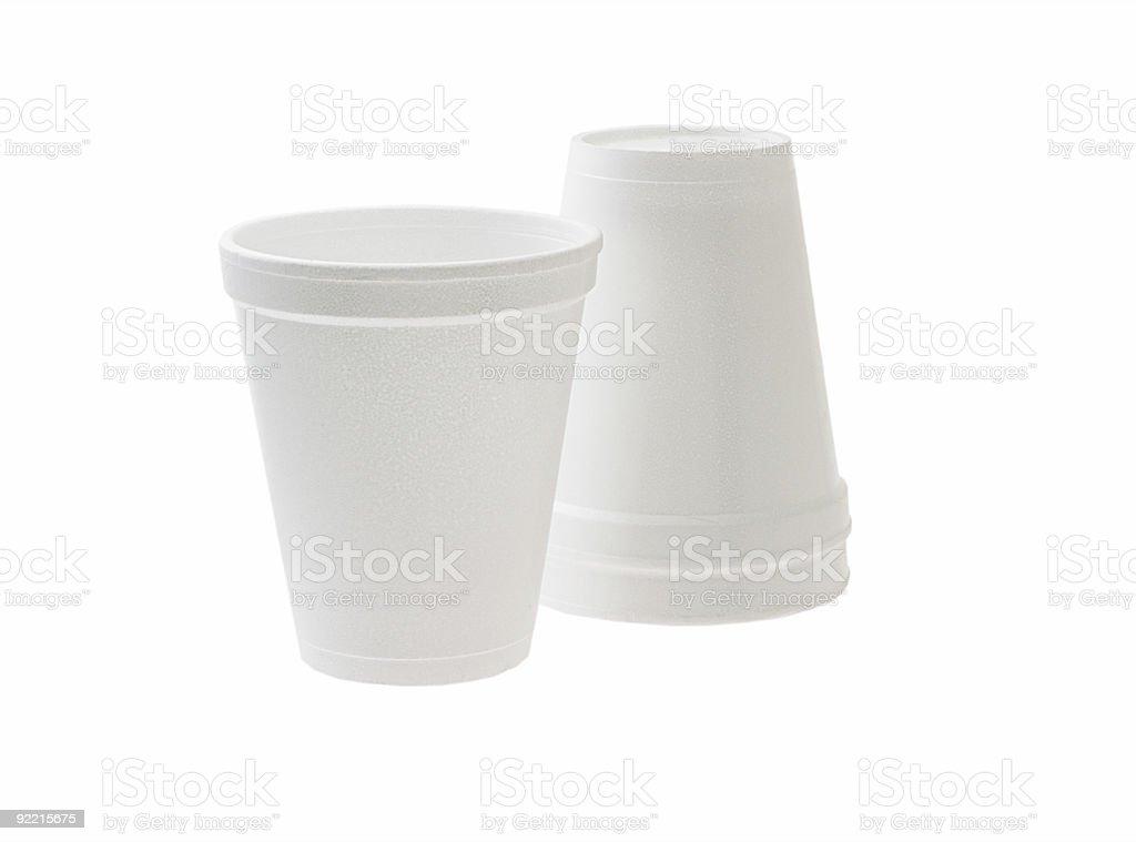 Disposable Styrofoam cups stock photo