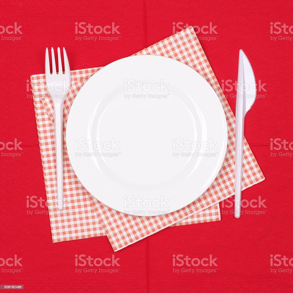 Disposable tableware set stock photo