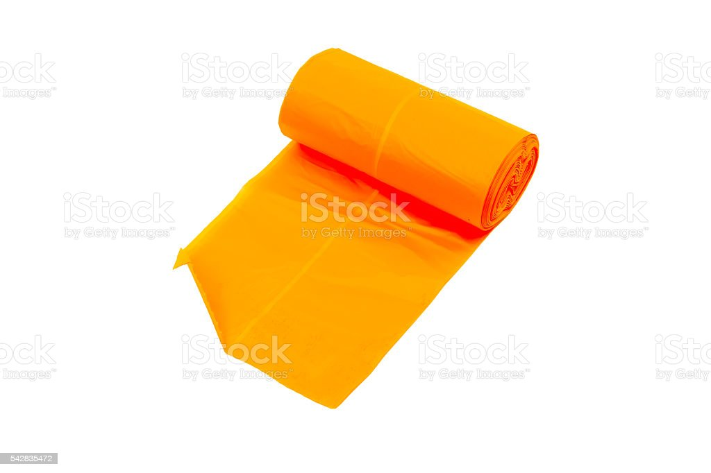 disposable trash bags  roll isolated over white background stock photo
