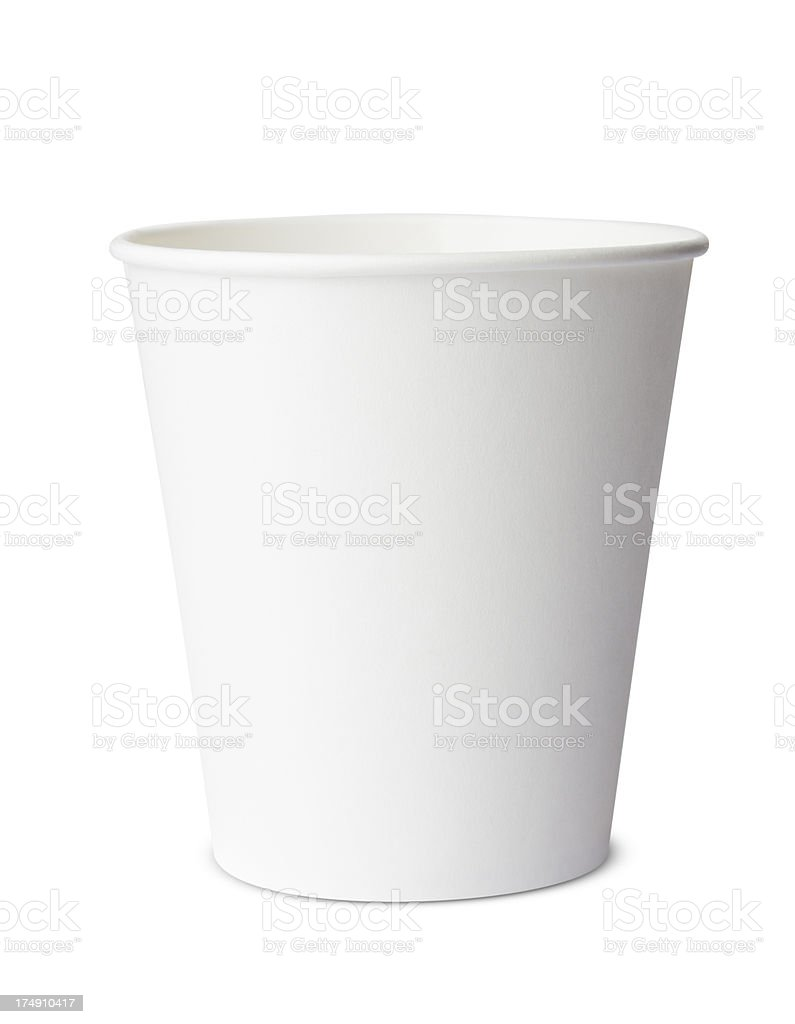 Disposable white coffee cup, isolated royalty-free stock photo