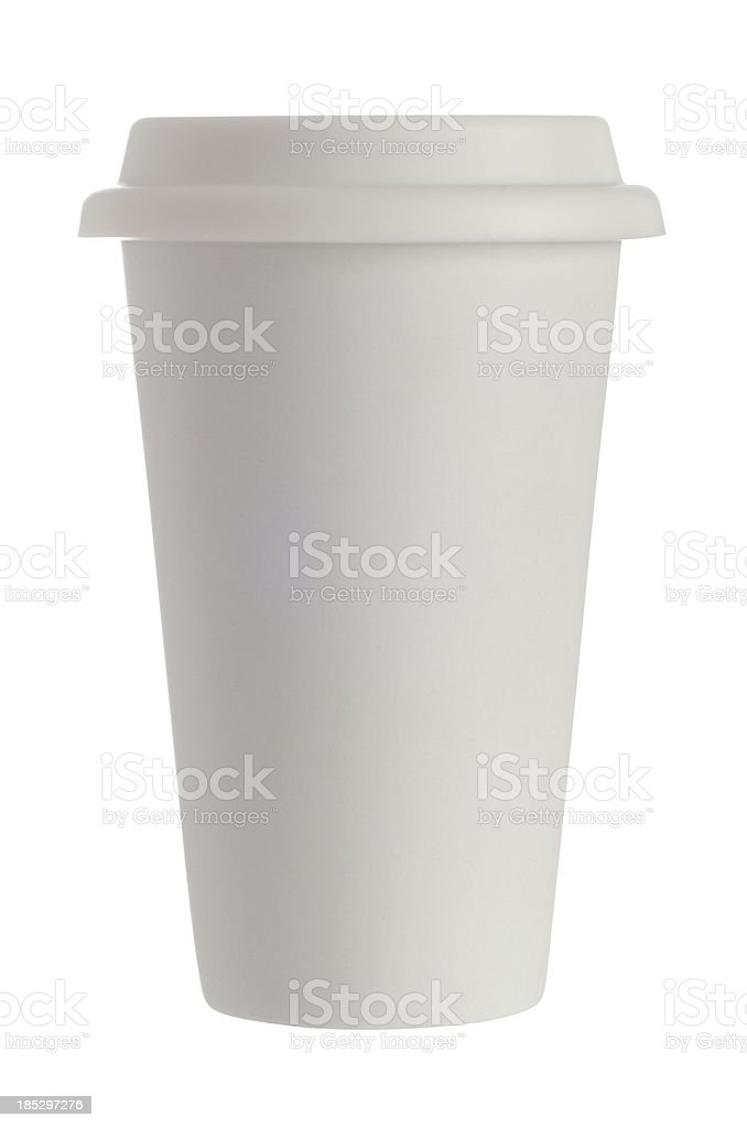 Disposable white coffee cup stock photo