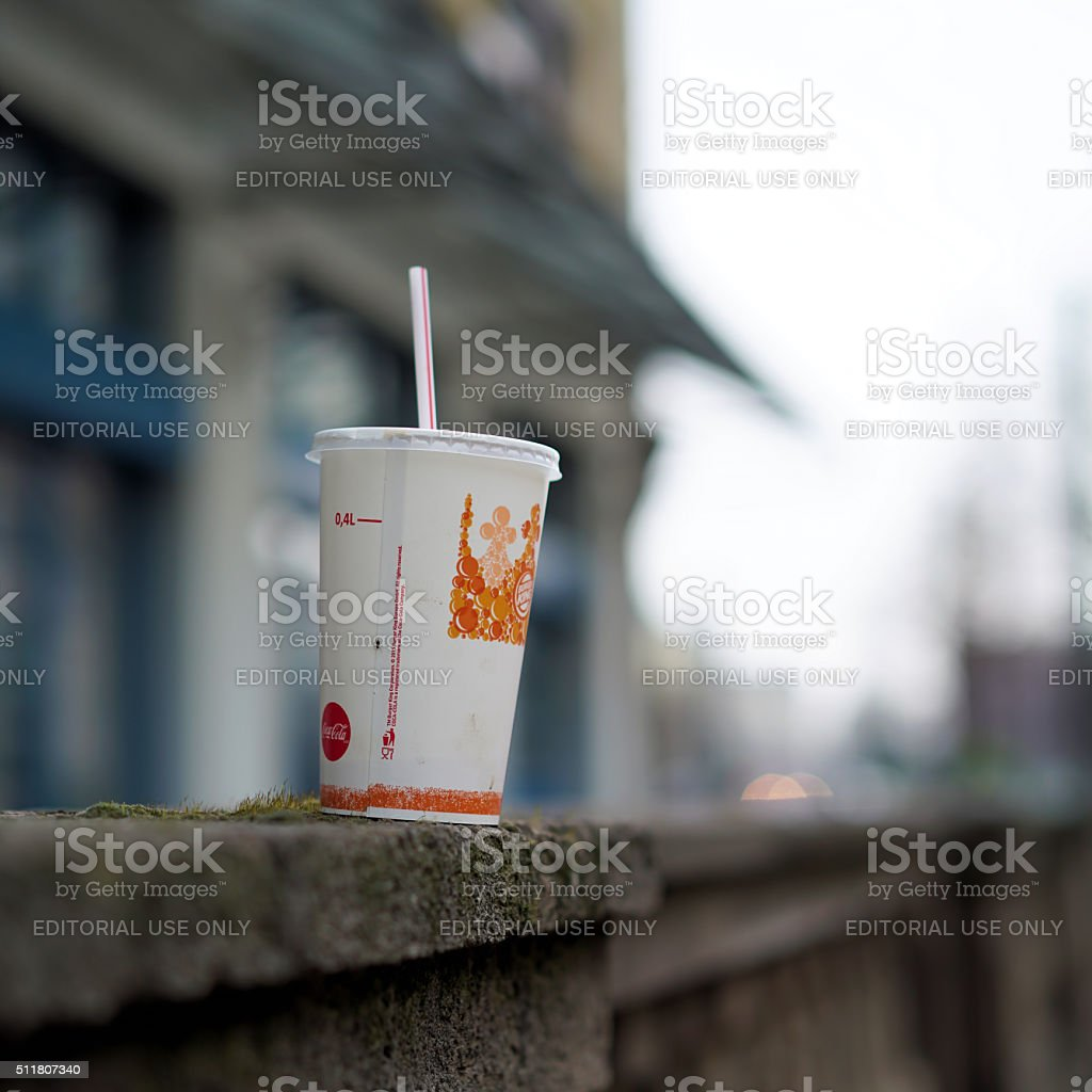 disposed cardboard cup stock photo