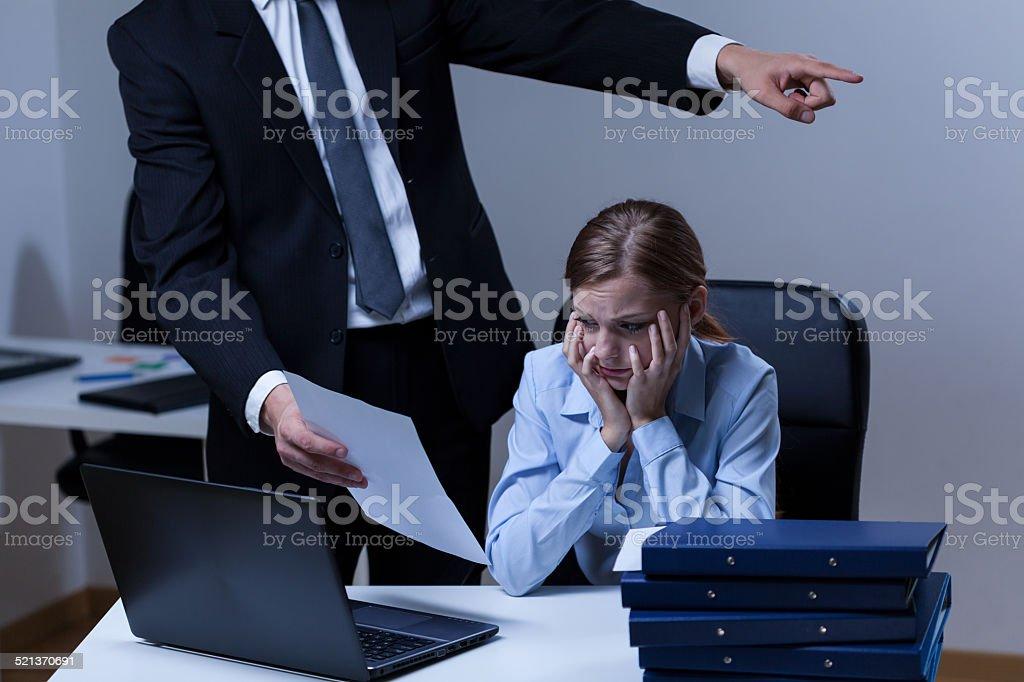 Dispute between boss and employee stock photo