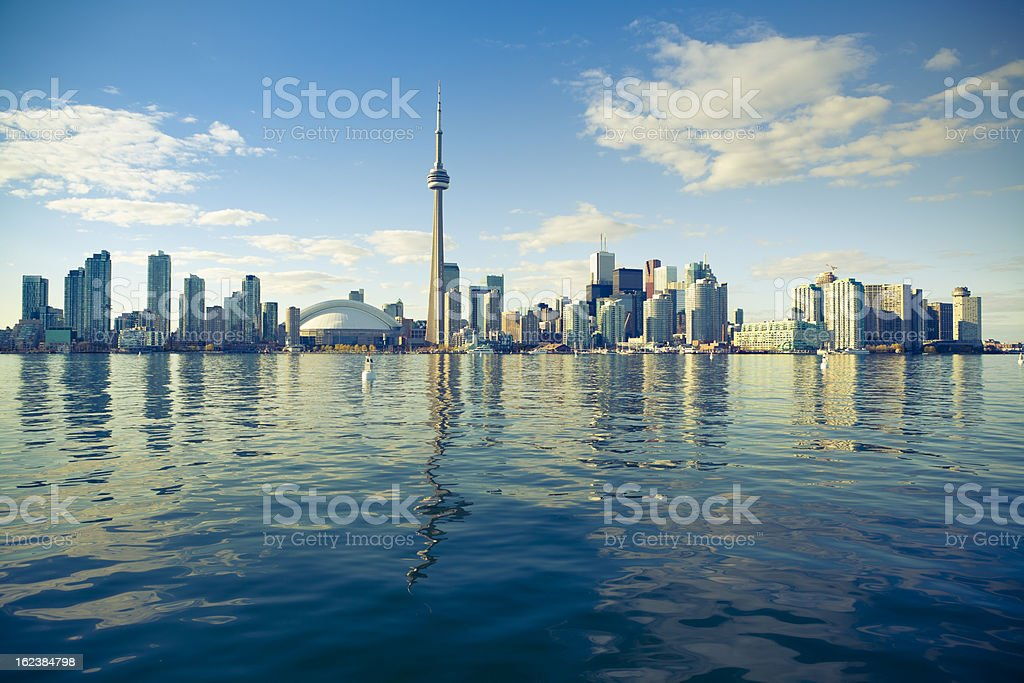 Distance image across a lake of Toronto, Canada stock photo