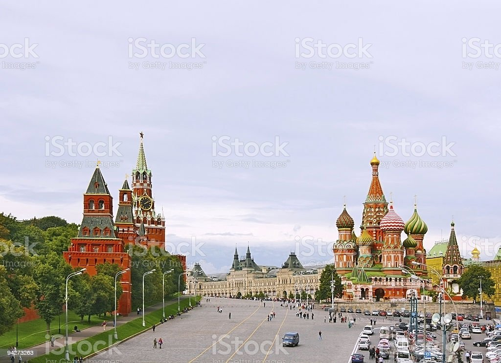 Distance image of Red Square in Moscow, Russian Federation royalty-free stock photo