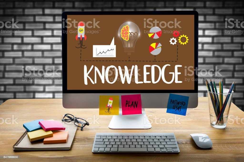 Distance learning online webpage KNOWLEDGE work stock photo