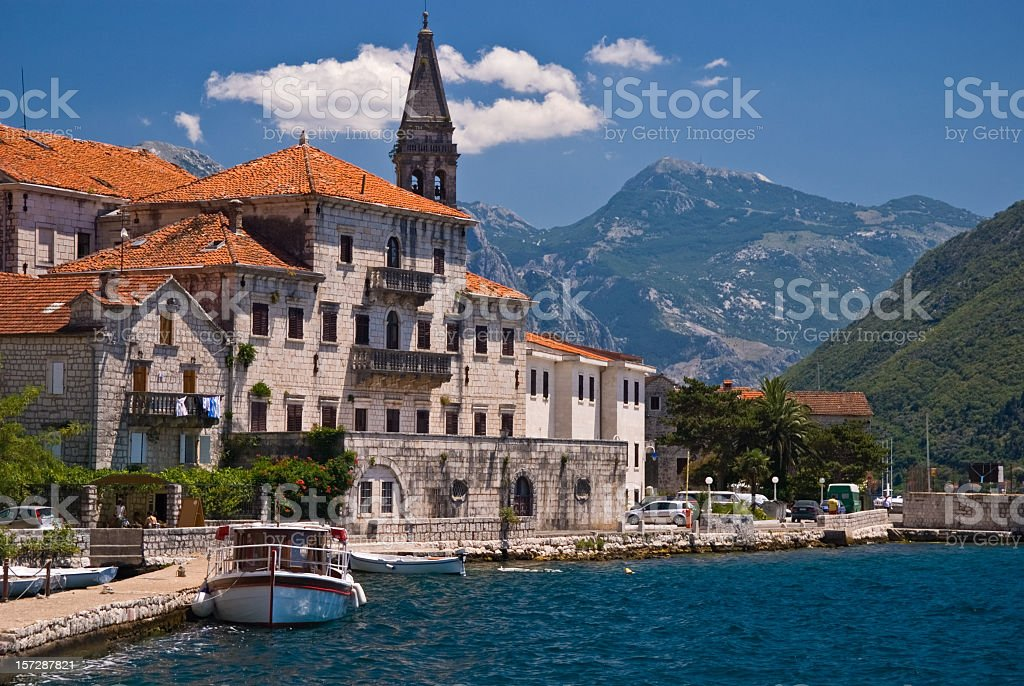 Distance photo of Perast, Montenegro in the Mediterranean stock photo