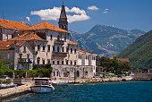 Distance photo of Perast, Montenegro in the Mediterranean