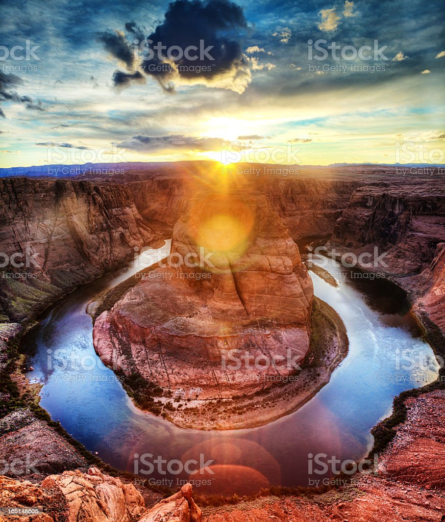 A distance picture of Horseshoe Bend at sunrise stock photo