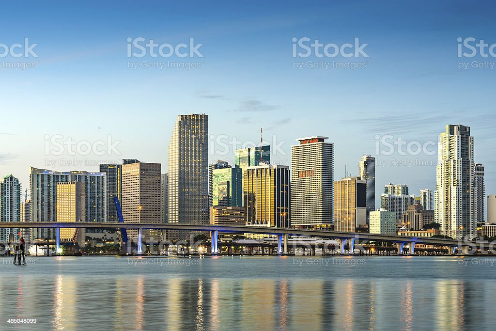 A distance picture of the Miami skyline during the day stock photo