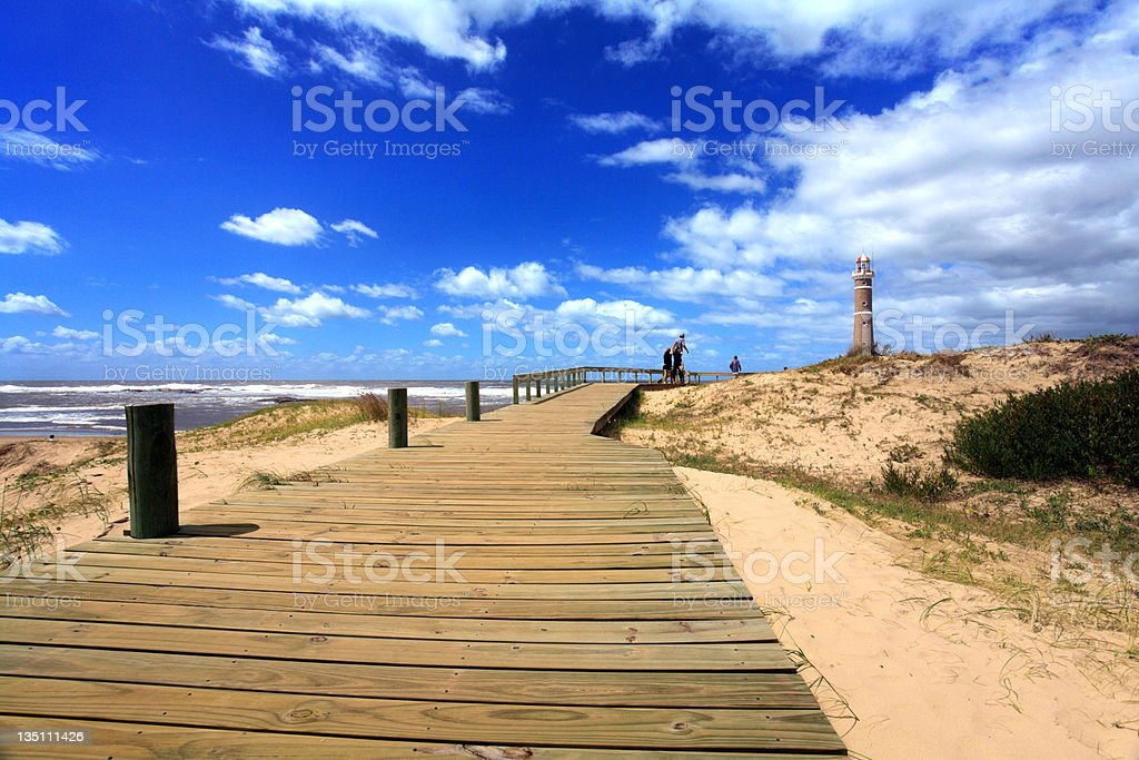 Distance shot of the lighthouse, Jose Inacio, Punta del Este stock photo