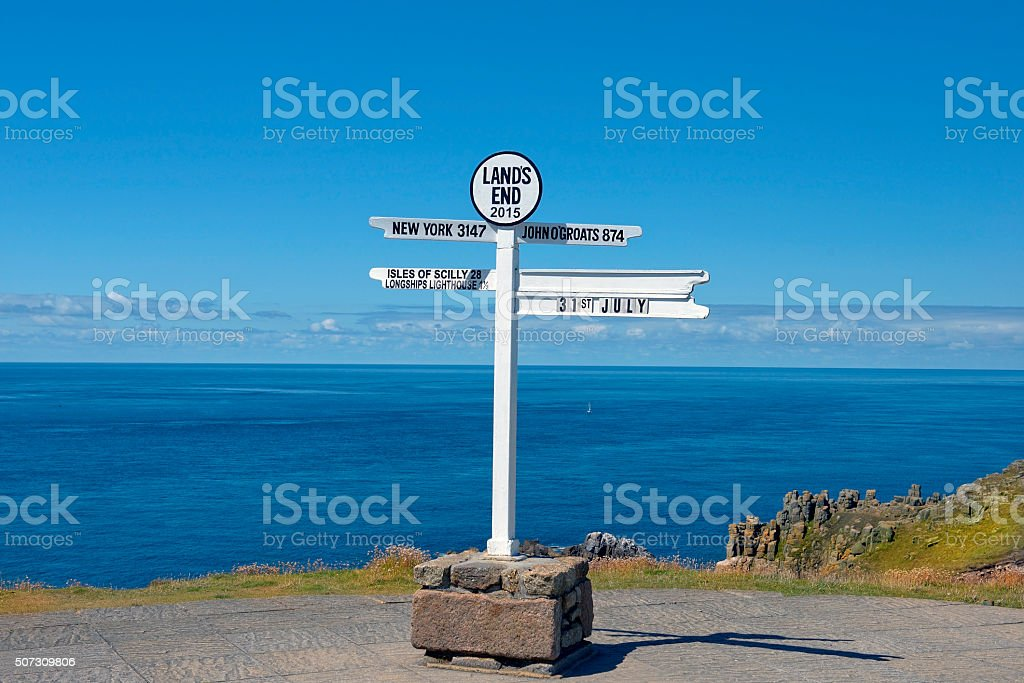 distance signpost at Land's End, Penwith Peninsula, Cornwall, England stock photo