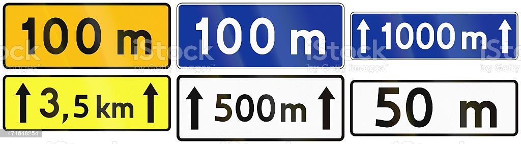 Distance Signs In Poland stock photo