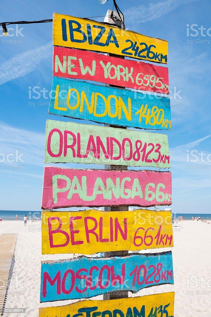 Distances to cities from beach in Liejpaja, Latvia stock photo