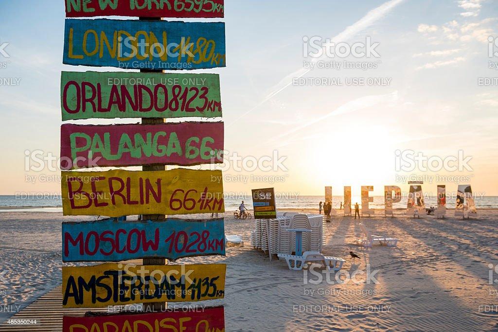 Distances to cities from the beach Liepaja, Latvia stock photo