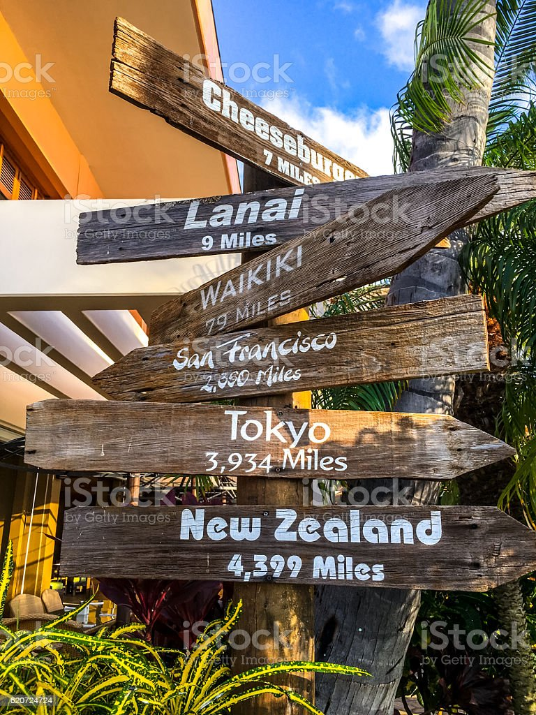 Distances to different cities on Maui beach, Hawaii, USA stock photo