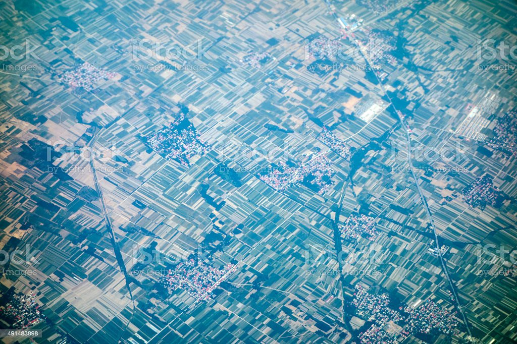 Distant aerial view of agricultural land, Zhengzhou, China. stock photo