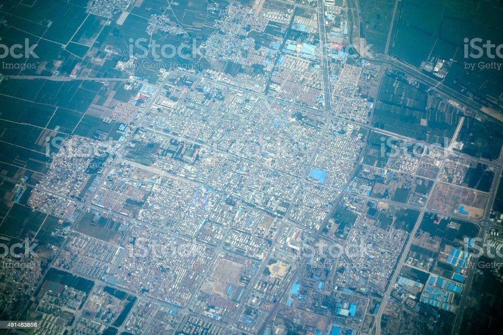 Distant aerial view of urban land, Zhengzhou, China. stock photo