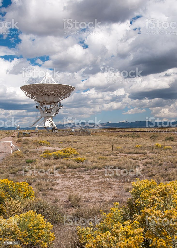 Distant Antenna in Very Large Array Near Socorro, New Mexico stock photo