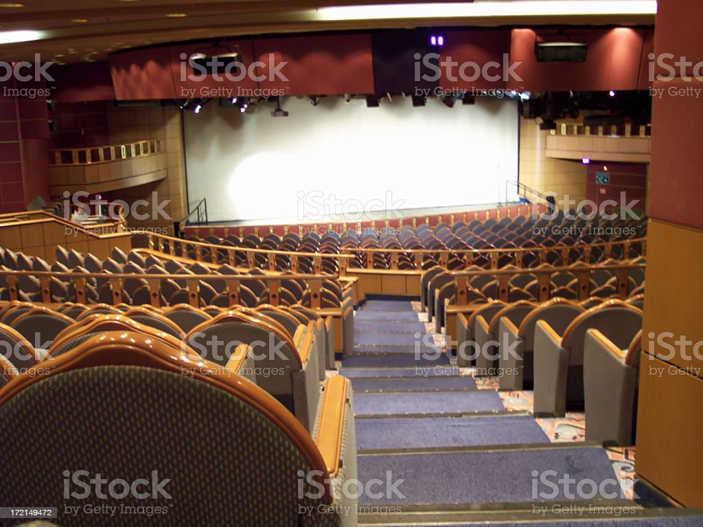 Distant Blank Theater Screen stock photo
