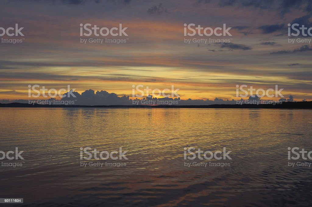 Distant colorful sunset royalty-free stock photo