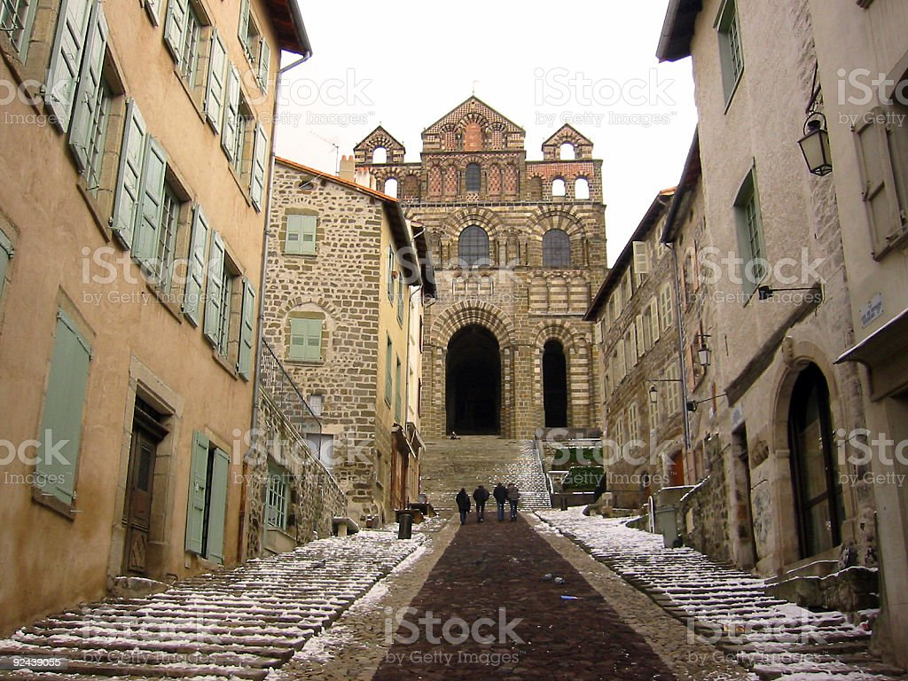 distant early walkers Le Puy france royalty-free stock photo