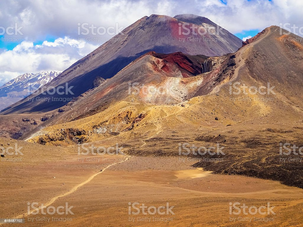 Distant Hikers on Tongariro Alpine Crossing Track in New Zealand stock photo