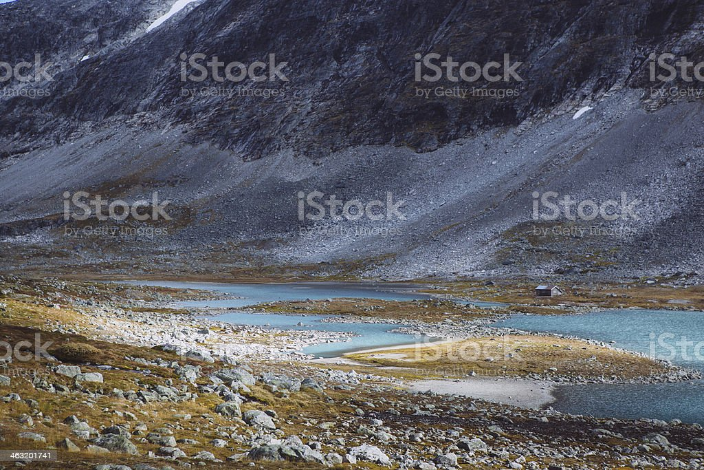 Distant Hut - Old Strynefjell Mountain Road, Norway stock photo