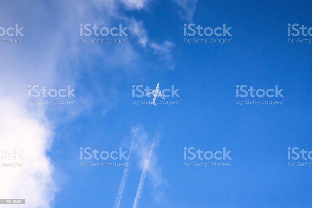Distant jet plane on the sky stock photo