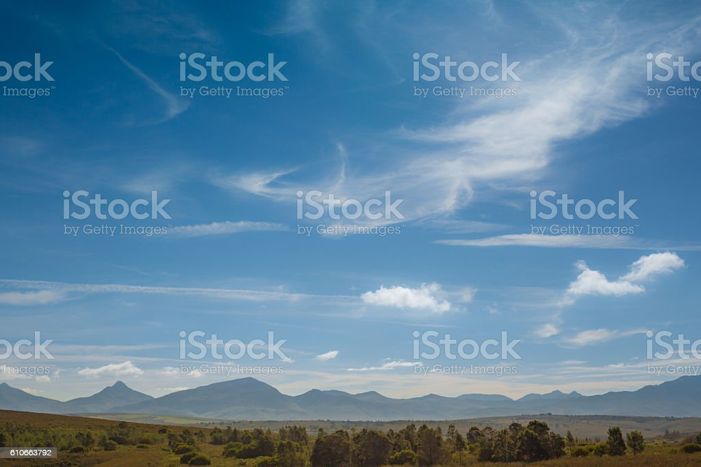 Distant mountain range in South Africa stock photo