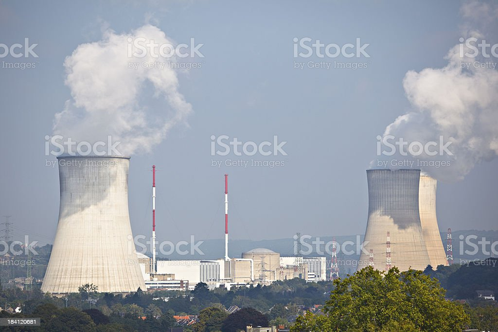 Distant Nuclear Power Station stock photo