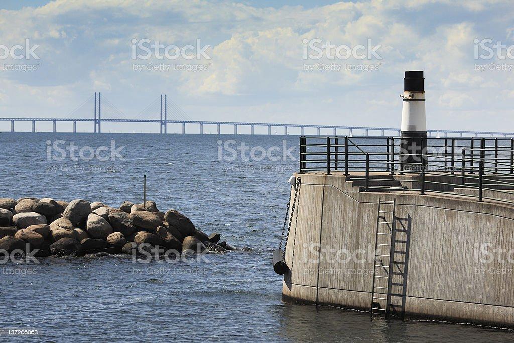 Distant Oresund Bridge stock photo